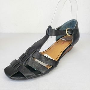 Tesori Black Leather Low Wedge Ankle Strap Sandals